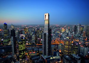 Image shows Eureka Skydeck building with Melbourne CBD in background