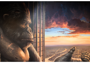 Image shows King Kong on Empire State building holding out his hand