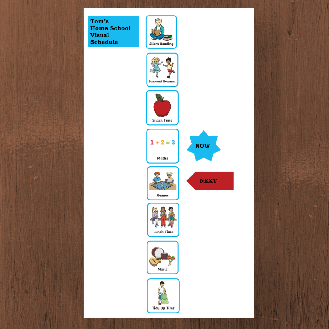 Visual schedule with white background and a row of pictorial images down the page showing the homebased learning activities of the day