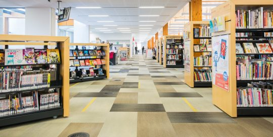 Internal image of Melton LIbrary with shelving and books
