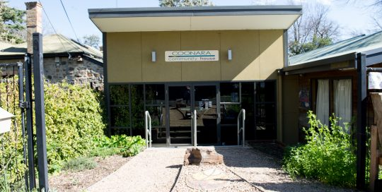 Image shows exterior of Coonara Community House showing entry/exit point.