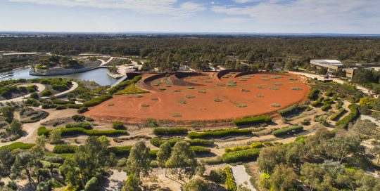 Image showing arial image of Royal Botanic Gardens Victoria Cranbourne of Australian red sands, waterways and native bushland