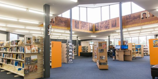 Interior of Boronia Library with shelving and books