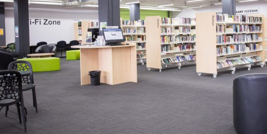 Interior of Bayswater Library showing books and shelving