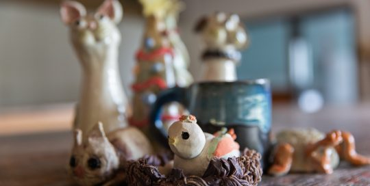 Hand crafted animals made from potters clay