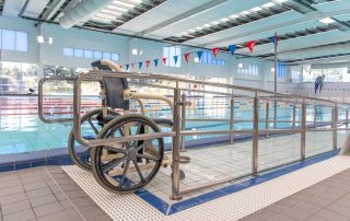 Braodmeadows indoor 50m pool with access ramp and water wheelchair