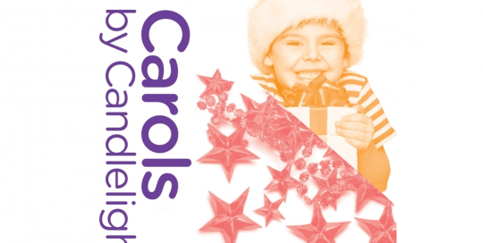 Knox CIty Carols by Candlelight purple logo with picture of young boy wearing a santa hat and holding a gift.