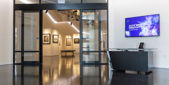 Cardinia Cultural Centre foyer with art gallery in background