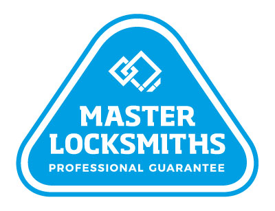 Pale blue Master Locksmiths Association of Australasia logo with white writing