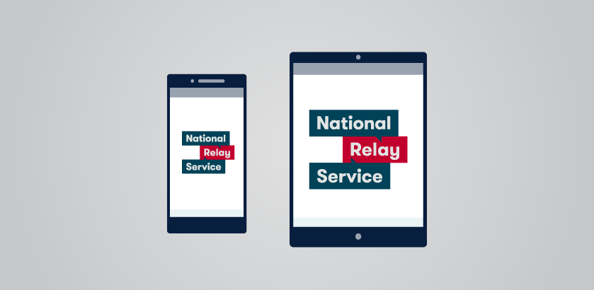 National Relay Service logo displayed on the screen of two electronic devices