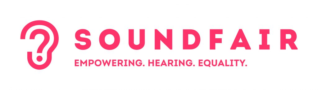 Soundfair logo with pale red background, an ear and the business name Soundfair in capital letters