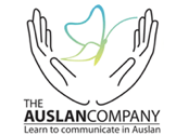 Logo for the Auslan Company showing two hands open and the wording The Auslan Company Learn to communicate in Auslan
