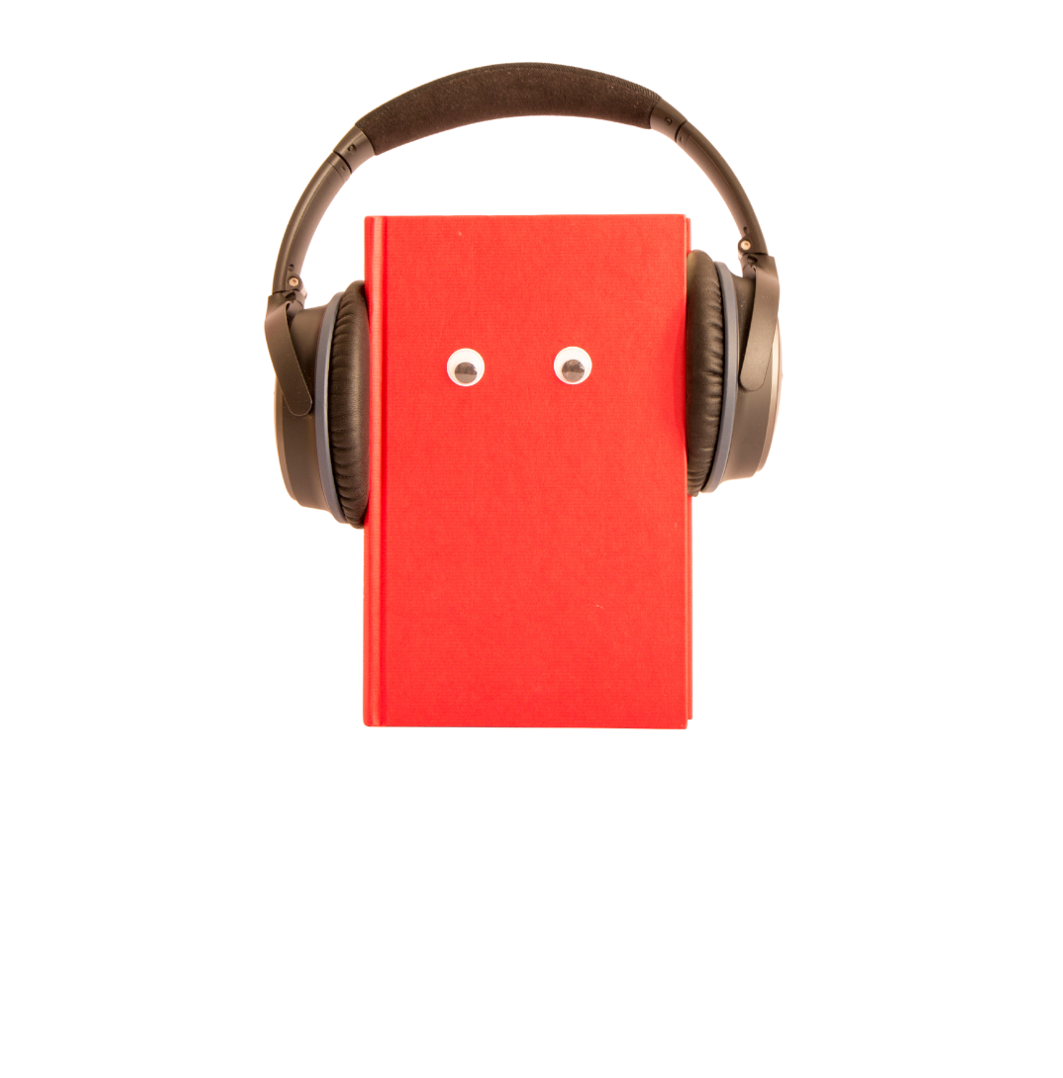 Red book cover with two eyes on the front and wearing a pair of headphones