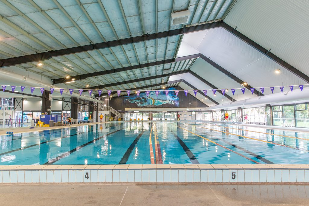 50m indoor swimming pool at Knox Leisureworks with lane ropes and flags
