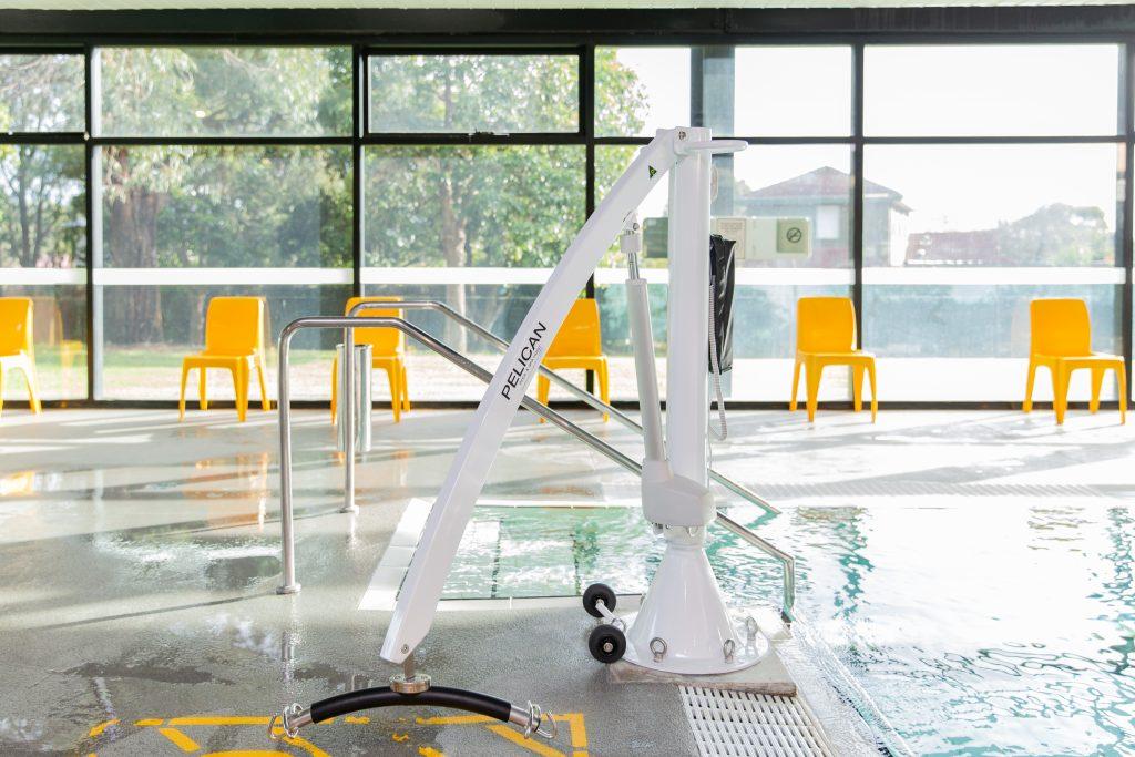 Knox Leisureworks warm water pool hoist at sde of pool