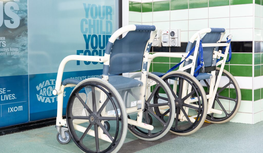 Two water wheelchairs at Knox Leisureworks