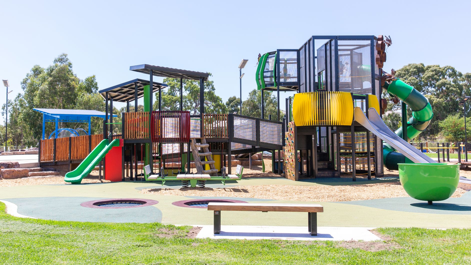 Mill Park All Abilities Play Space 3 level multi age play equipment